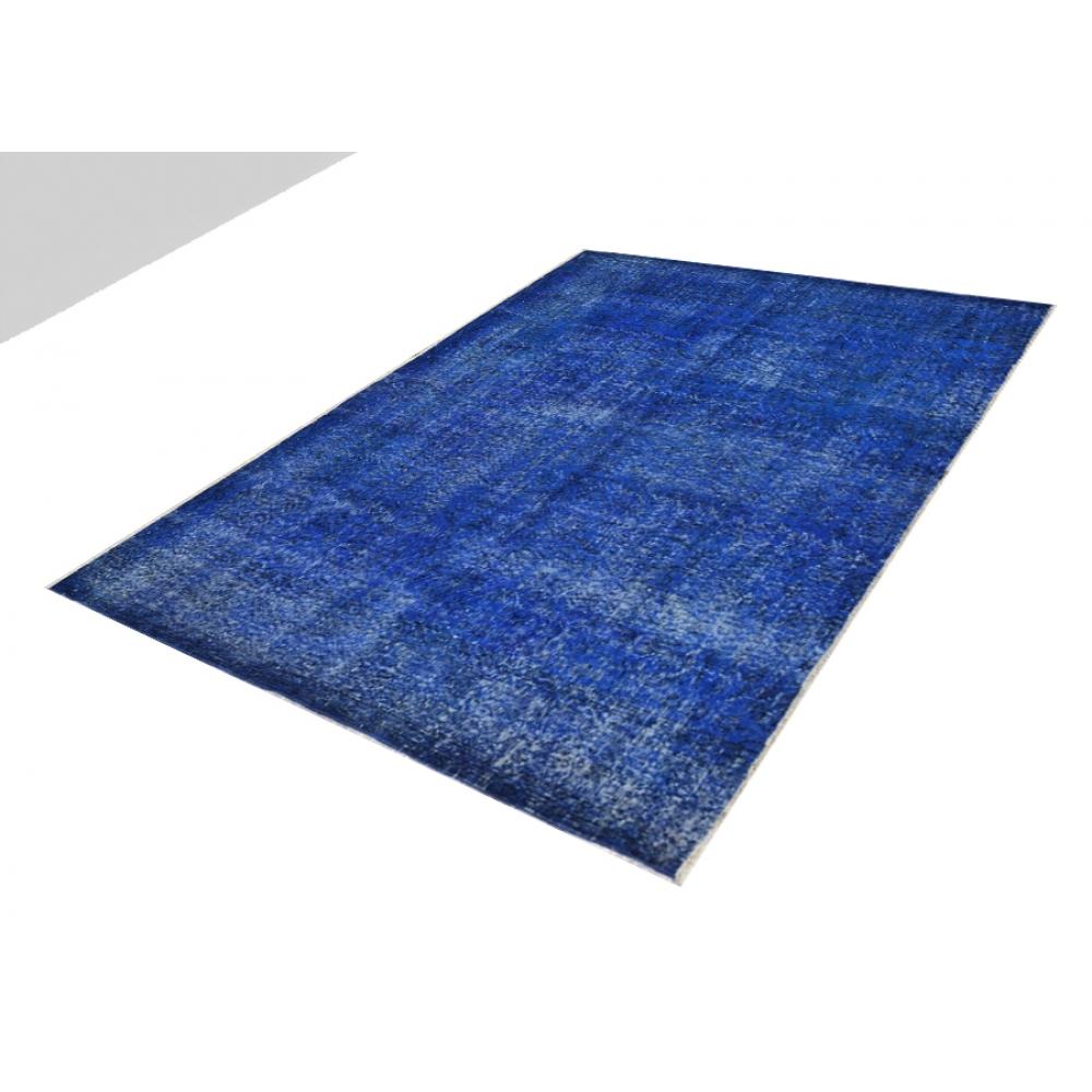 blau handgesponnene wolle vintage teppich 205 x 150. Black Bedroom Furniture Sets. Home Design Ideas