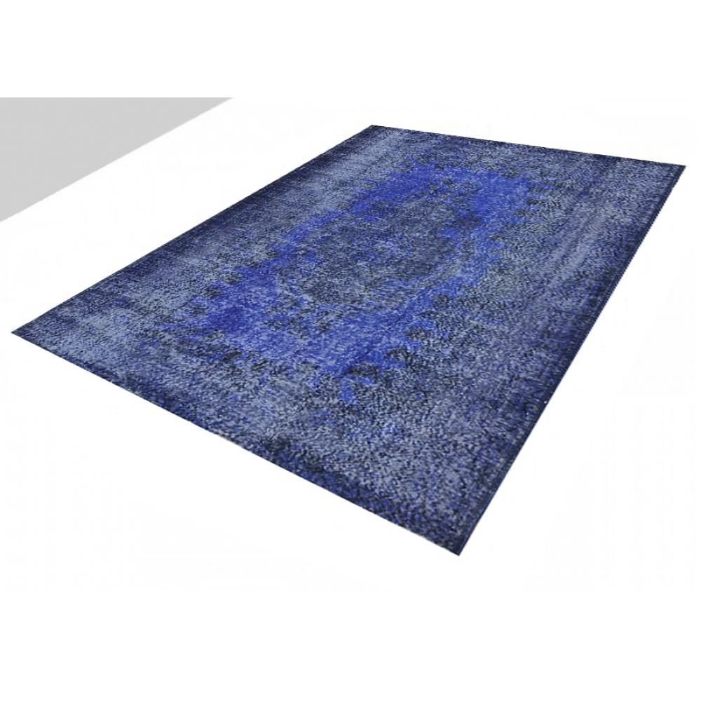 blau handgesponnene wolle vintage teppich 252 x 174. Black Bedroom Furniture Sets. Home Design Ideas
