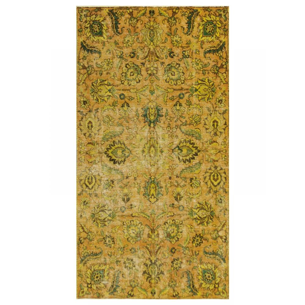 Grun Handgesponnene Wolle Vintage Teppich 274 X 143