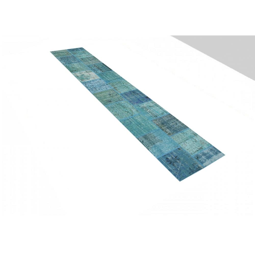 blau handgesponnene wolle patchwork teppich 400 x 80. Black Bedroom Furniture Sets. Home Design Ideas