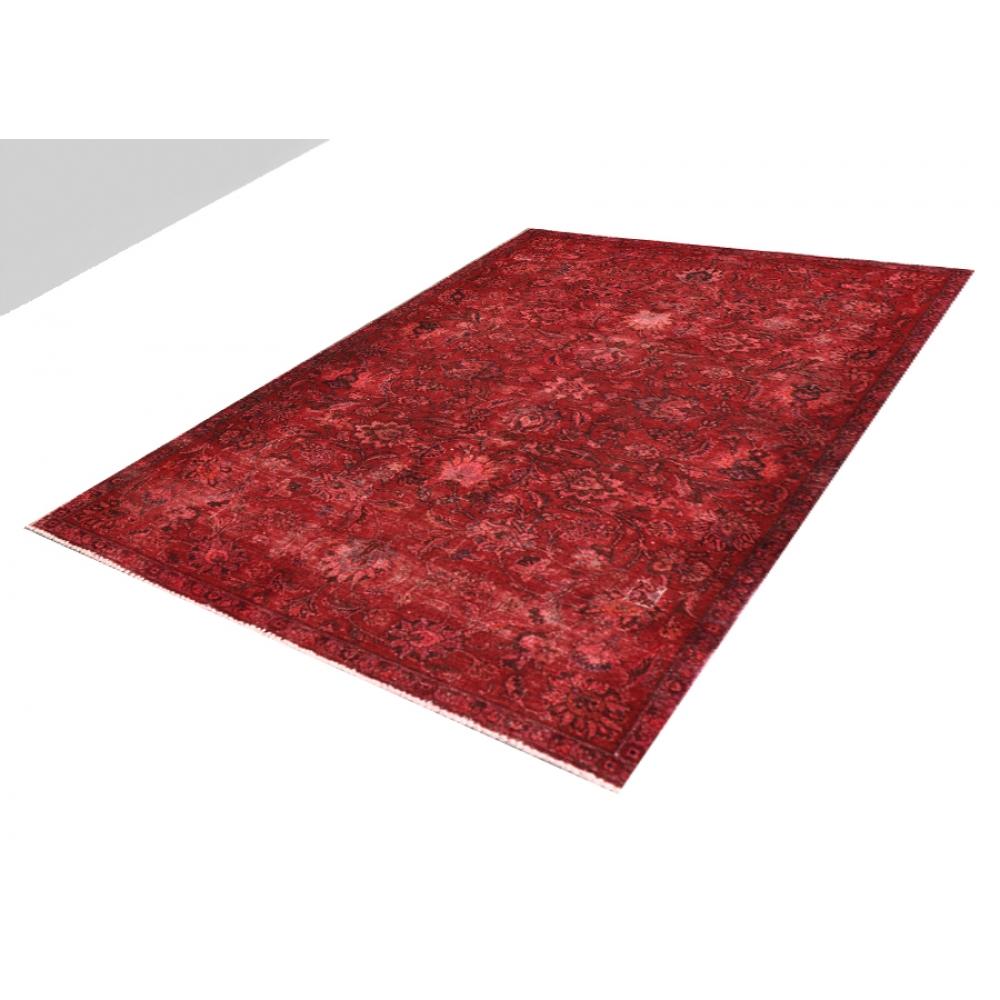 rot handgesponnene wolle vintage teppich 250 x 147. Black Bedroom Furniture Sets. Home Design Ideas