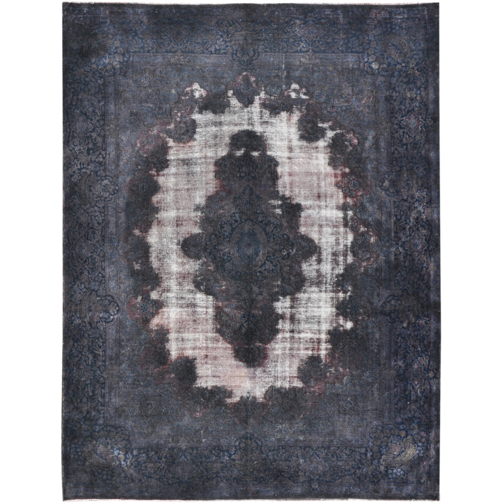 Grey Hand Spun Wool Vintage Carpet 414 X 290