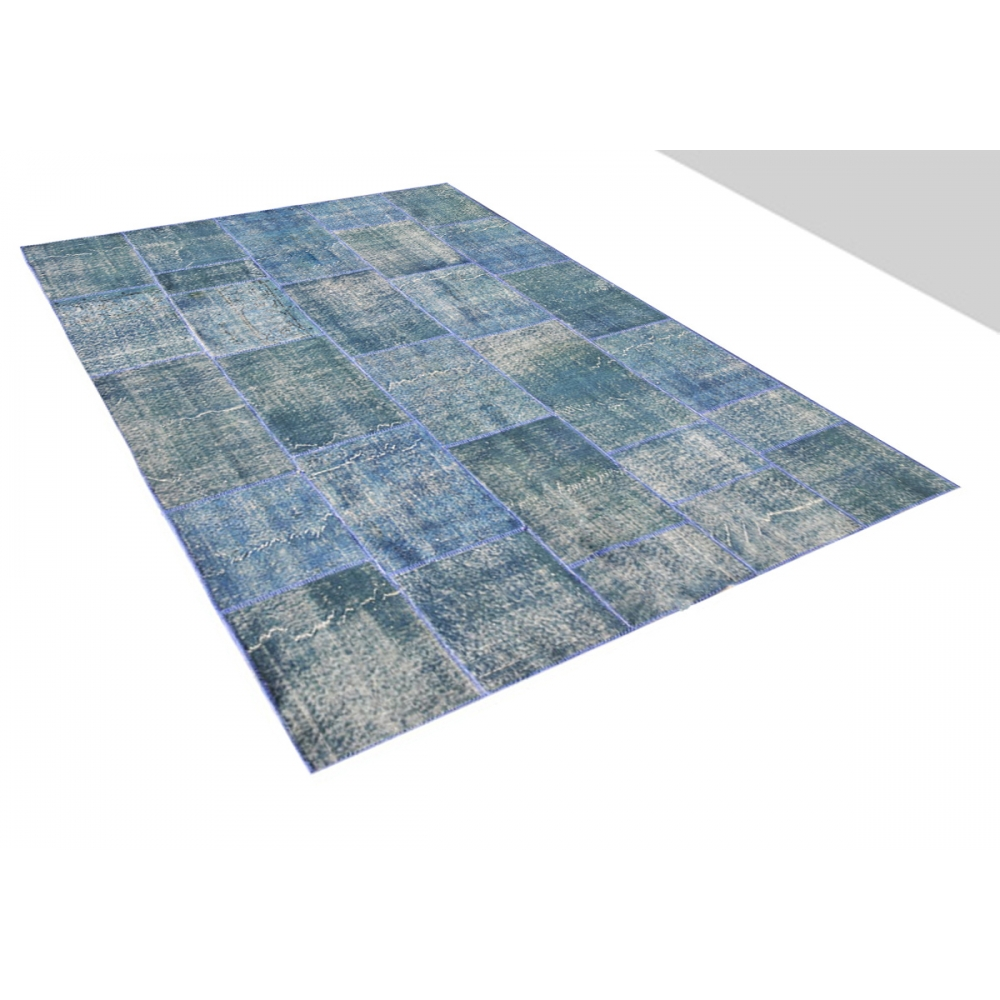 bleu laine fil e la main patchwork tapis 306 x 198. Black Bedroom Furniture Sets. Home Design Ideas