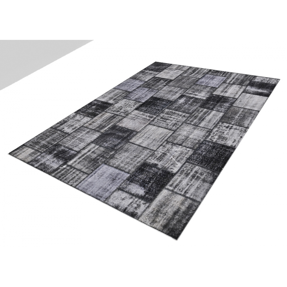 gris laine fil e la main patchwork tapis 298 x 250. Black Bedroom Furniture Sets. Home Design Ideas